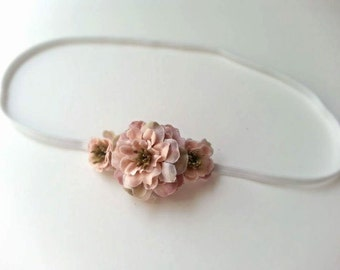 Vintage Country Inspired Tiny Mauve Pink Flower Bloom Headband - Baby Girl, Newborn, Infant, Adult - Bridal PHOTO PROP - Fairytale Woodland
