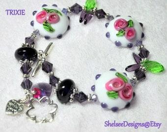 Bracelet,Lampwork and Sterling Silver Bracelet,White,Pink, Purple and Green Bracelet - TRIXIE