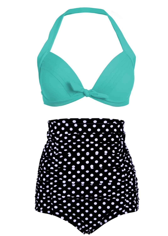 high waist retro bikini swimsuit swimwear with black polka dot. Black Bedroom Furniture Sets. Home Design Ideas
