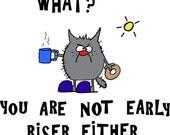 Grumpy Gray Cat on Funny Coffee Mug