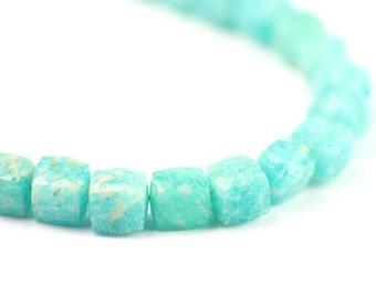 Amazonite Faceted Cube Beads 2 Aqua Blue Semi Precious Gemstones