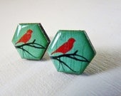 Lightweight Turquoise Bird on a Branch Wood Studs with hypoallergenic posts