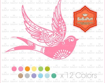 12 Colors Bird Clip Art, Spring Birds, Swallow. For Handmade Crafts Making, Cards, DIY Project, Personal and Small Commercial Use. BP 0943