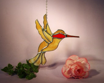 Suncatcher Stained Glass Hummingbird with Ruby Throat  (501)