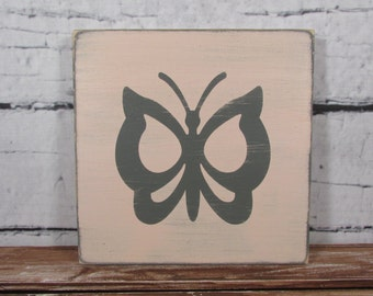 Custom butterfly sign - distressed - shabby chic - rustic - child's room - girl's room decor - colors of your choice