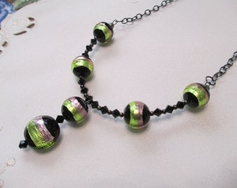 Venetian Bead Pendant Necklace in Vibrant Shades of Peridot Green and Lilac on Black