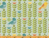 SALE - Forest Parade - Organic Cotton Print Fabric - Birds Aqua by Petit Collage from Windham Fabrics