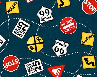 Zip Zoom - Tossed Roadsigns Navy Blue by Viv Eisner from Wilmington Prints