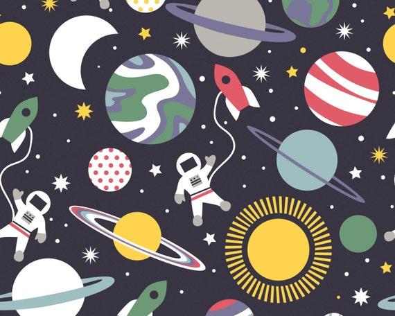 Galaxy navy space planets from blend fabrics for Planet print fabric