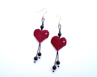 Tribal earrings. Macrame earrings. Valentine's day gifts. Earrings with hearts. Macrame hearts. Gifts for your lovers.
