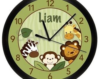 Safari Jungle Nursery Wall Clock 10 Inch