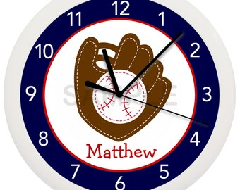Baseball Mitt Personalized Nursery Wall Clock