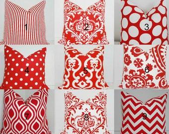 Red & White Pillow Covers Chevron Zig Zag Ikat Polka Dot Pillow Decorative Throw Pillow All Sizes