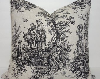 Black Toile Pillow Cover Baby Girl Boy Nursery Throw Pillows Decorative Toile Print 18x18