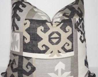 Richloom Black & Tan Geometric Pillow Cover Decorative Throw Pillow Cover Large Geometric Pattern  18x18