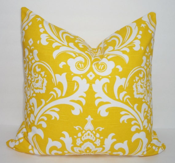 Decorative Pillows Corn Yellow & White Damask Pillow Covers Throw Pillows 18x18