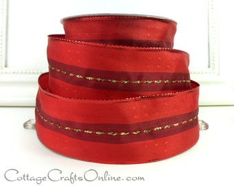"CLEARANCE! Red Wired Ribbon,  1 1/2"", Red Gold Metallic Stripe - THREE YARDS - Offray ""Elbrus"" Christmas, Valentine, Craft Wire Edged Ribbon"