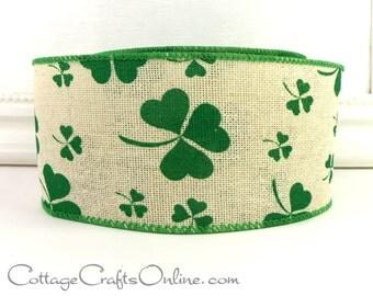 "Wired Ribbon, 2 1/2"" Shamrocks Green on Linen St Patrick, TEN YARD ROLL,  ""Clover Country Hopsack"", Irish, St Patrick's Craft Ribbon"