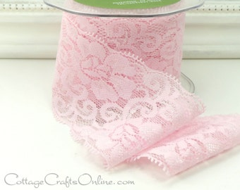 """Elastic Lace Ribbon 2 1/2"""" wide, Pink - PER YARD - May Arts - Use for hairbands, sewing, lingerie, Pink Lace Trim"""
