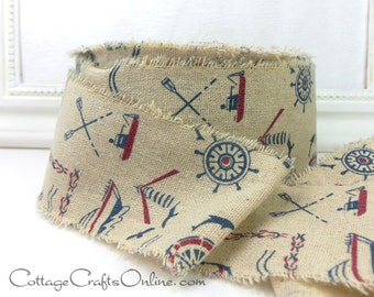 "CLEARANCE!! Ribbon, 2 1/2"" , Red and Blue Vintage Look Seaside Boating Print - THREE YARDS - May Arts, Nautical, Summer, Lake, Beach Ribbon"