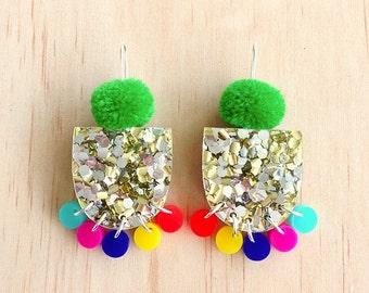 Pom Pae Lush Drop Earrings - Bright Green