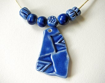 Blue Arrow Pendant & Beads Stoneware Clay