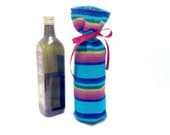 Mexican Wedding Centrepiece - Blue Fabric Gift Bag - Wine Bottle Sleeve - Reusable Gift wrapping - Table Decor - Party Favor - Housewarming