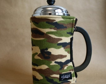 French Press Coffee Cozy in Camo Flannel Print - French Press Wrap in Camouflage Print