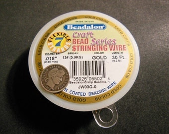 "Beadalon 7 Strands .018"" Bead Stringing Wire 30 Feet - Gold Color"