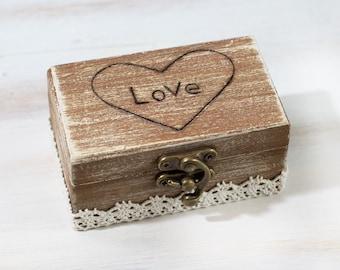 Wedding Ring  Bearer Box Maid of Honor gift Custom Wedding Box Rustic Ring Bearer Box Engagement Box Pillow Alternative  Bridesmaid Gift