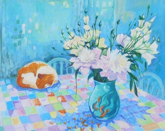 "Ginger Cat Art. Print of  ""Ginger Cat and Peonies "". 8"" x 8""."