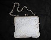 Bridal clutch ,Crochet bridal handbag  ,irish crochet bag,white