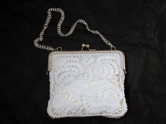 Bridal Clutch Crochet Bridal Handbag Irish Crochet By Pamphylian