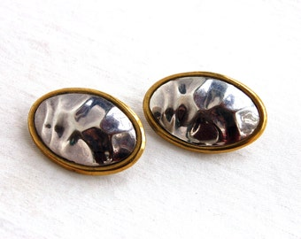 Mexican Sterling Silver Clip On Earrings Large Oval Vintage Mixed Metal Hammered Clips Laton Jewelry