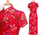 Vintage 90s Asian Inspired Maxi Dress / Long Dress / Red Dress
