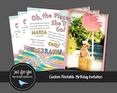 Oh the Places You'll Go Birthday Invitation - 1st First or 2nd Second Birthday - Boy, Girl, or Twins - YOU PRINT Custom Printable Invitation