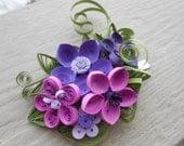 Quilled Hair Piece. Purple Wedding , Bridal Hair Piece. Paper Flowers. Bridesmaid. CUSTOM ORDERS WELCOME.