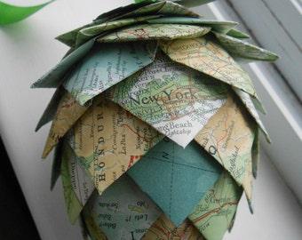 Vintage Map Paper Pinecone Ornament. Decoration, Christmas, Gift, Birthday, Anniversary, Wedding.