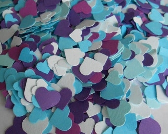Purple & Turquoise 2000 Mini Confetti Hearts.  Weddings, Showers, Decorations. ANY COLOR Available.