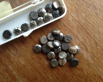 Vintage Petite Glass Beads n Gray/ Grey, Black, Gold in Case