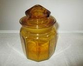 Amber lidded jar L.E. Smith apothecary jar ground glass lidded jar vintage amber apothecary jar shabby vintage jar set amber candy jar