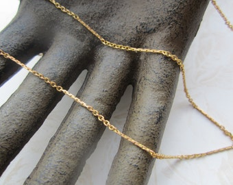 Vintage 70's Golden Raw Brass Dainty Cable And Bar Chain 20ft.