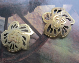 Vintage Raw Brass Cupped Flower Filigree Stampings 2Pcs.