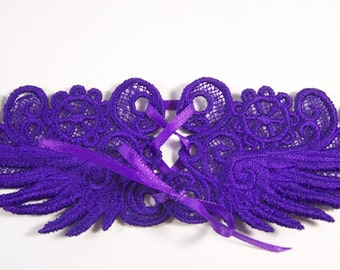 Deep Purple Lace Choker with Corset Lacing