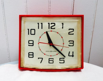 Vintage 1960s General Electric Red Clock
