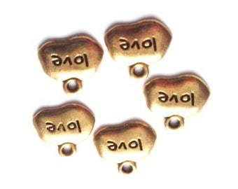 DOLLAR DEAL, Clearance, Antique Gold, Love Word Charm- 5 pieces, Love, Word Charm, Love Charm, Sale Beads, Gold Love, Sweetheart, Wedding