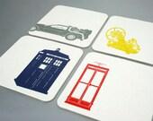 Time Machine Letterpress Coasters - Set of 4 - Tardis, DeLorean, Phone Box, and the Time Machine