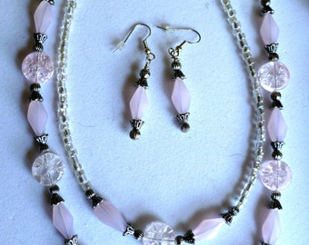 Pink 2 strand necklace earring set, beaded jewelry set