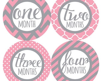 FREE GIFT, Baby Girl Month Stickers, Monthly Baby Stickers, Girl, Pink, Grey, Gray, Pink Gray Nursery Decor, Baby Shower Gift, Chevron, Dots