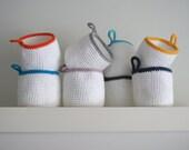 Set of 2. Crochet basket. Round basket. Spring basket. Storage basket. Cesta crochet. Cestino uncinetto. Häkeln Korb. Panier crochet